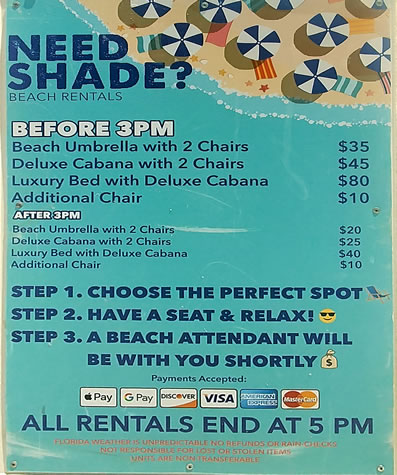 Cabana and umbrella rental prices on Clearwater Beach image